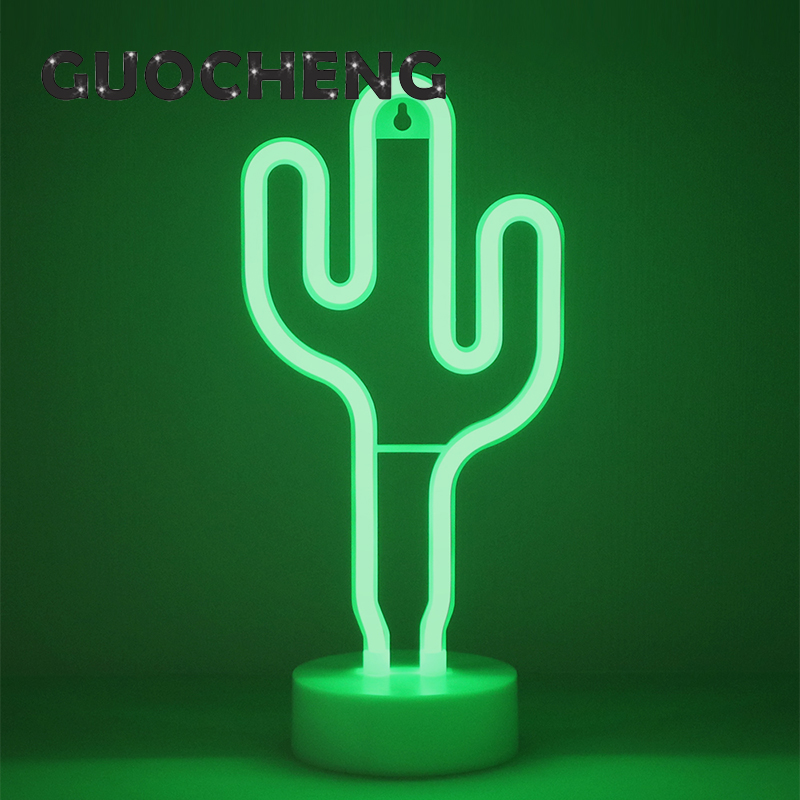 Creative LED Green Cactus Neon Night Light For Kids Childrens Rooms Battery Power Night  ...