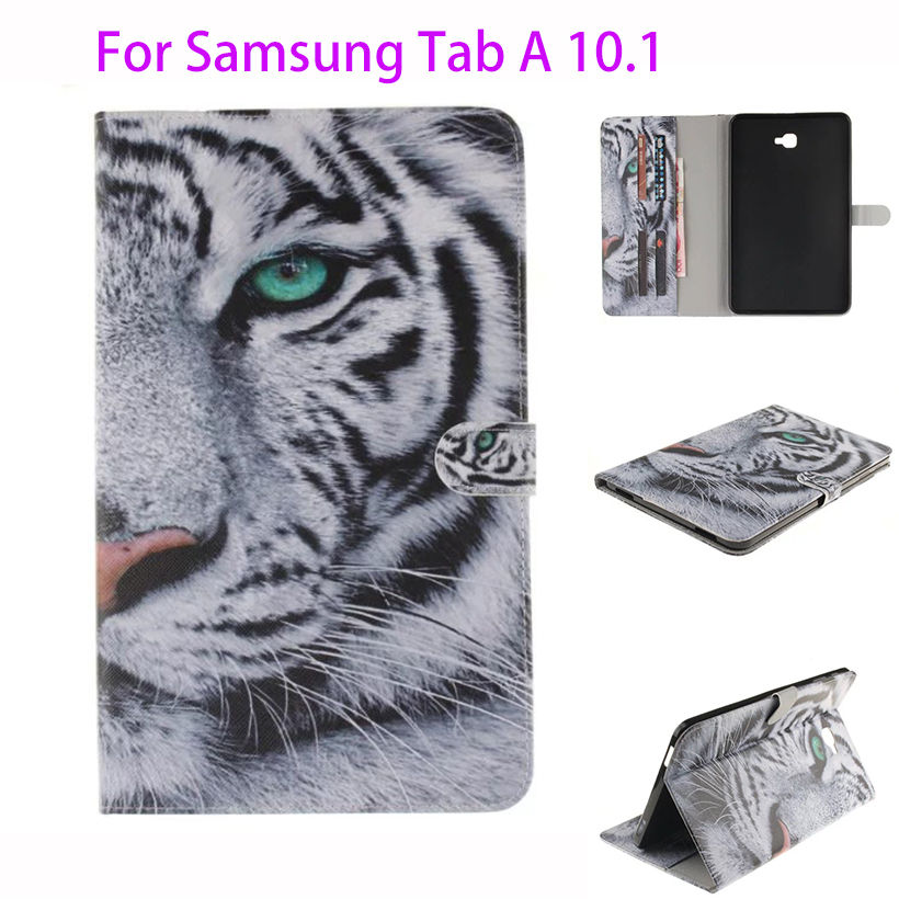 Tiger Painting PU Case For Samsung Galaxy Tab A A6 10.1 2016 T580 T585 T580N SM-T580 Cover Cases Funda Tablet Flip Smart Shell