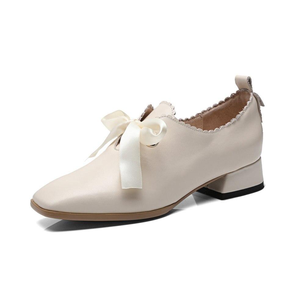 Básica Tamaño Bombas Square Cuero Primavera Zapatos 3 white Vaca Eshtonshero Señoras Bajos Beige Riband Toe Boda De Mujer negro 9 Pu Tacones wOqptxa4nx