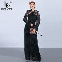LD LINDA DELLA Fashion Runway Maxi Dresses Women's Long Sleeve Bow Collar Lace Floral Long Dress Vintage Black Party Dress цена и фото