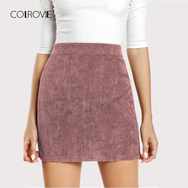 000f528d7d COLROVIE Pink Solid Corduroy Back Zipper Casual Bodycon Skirt 2018 Autumn  Sexy Mini Women Skirts Winter Streetwear Skirts