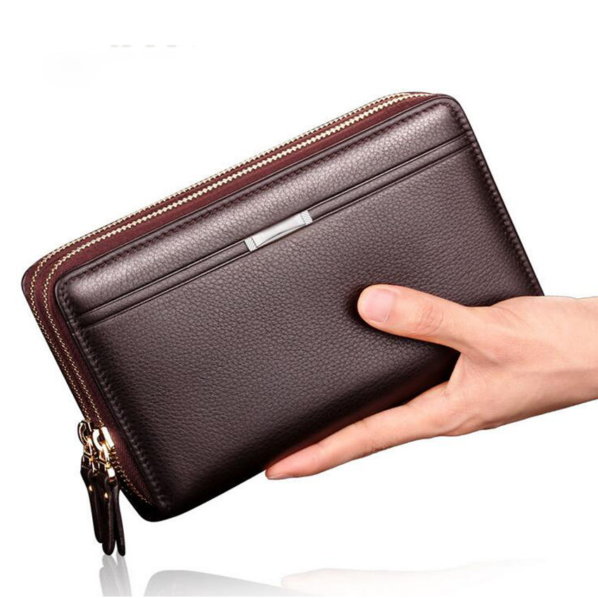 Business Men Wallets Long PU Men's Leather Cell Phone Clutch Purse Handy Bag Black Top Zipper Large Wallet Purse