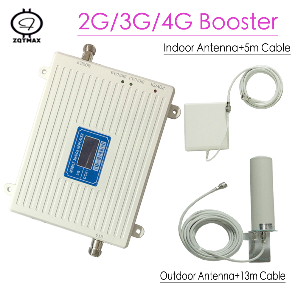 2G 3G 4G Amplifier DCS 1800mhz 3G WCDMA 2100mhz Dual Band Cellular Signal Booster 4G LTE 1800mhz Repeater LCD Display 65dB