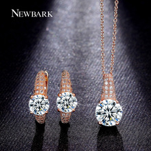 NEWBARK Jewelry Sets Charm Hoop Earrings Pave Setting 2 Carat Round Cut Cubic Zirconia Necklace Fashion Jewelry Set Party Perlas