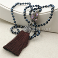 WT-NV130 Wholesale Long fashion knotted crystal beads tassel necklace, handmake populared long tassel beads knotted necklace 30""