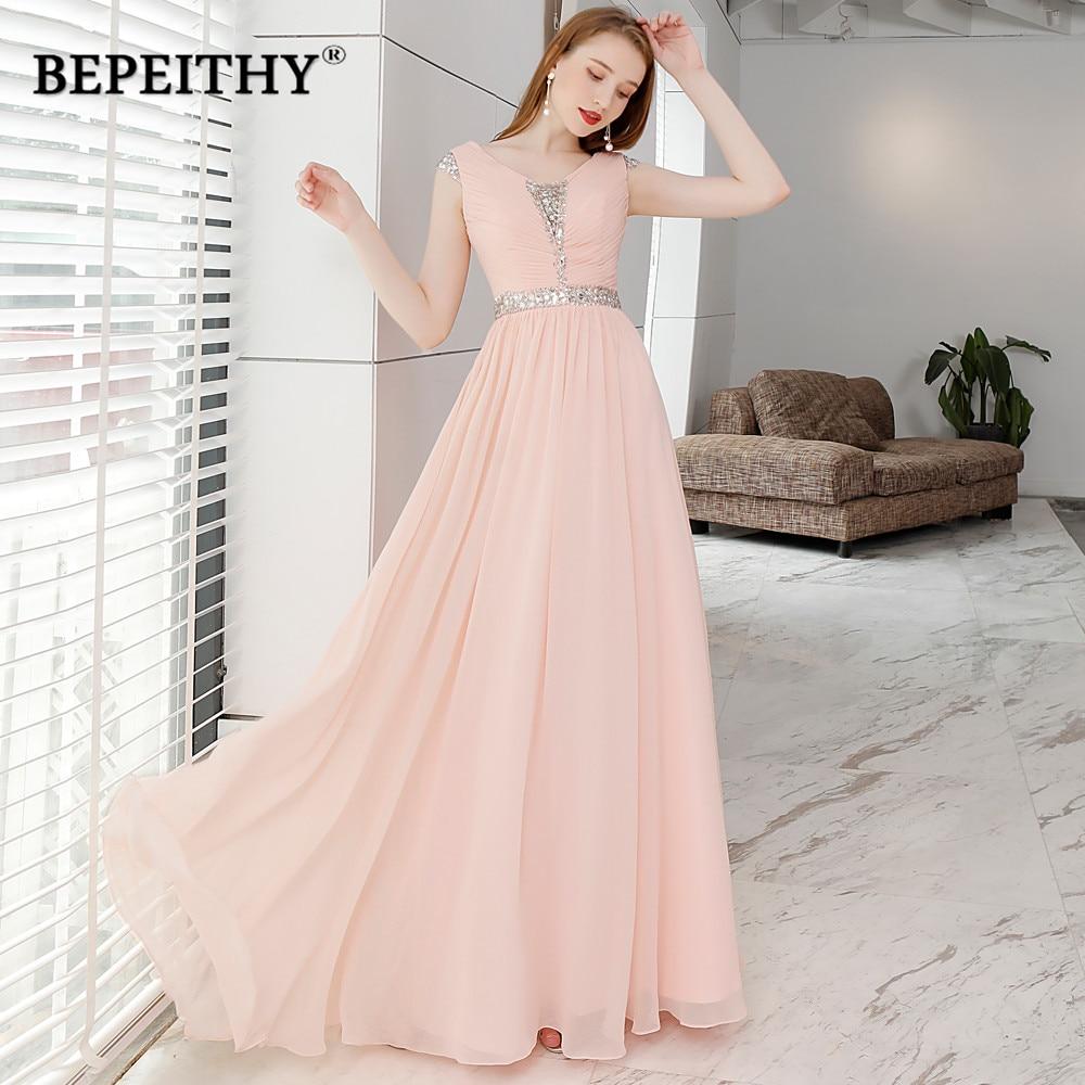 Fantastic Long Evening Dress Party Elegant V Neck Crystal Belt Vintage Long Prom  Dresses Cap Sleeves 2018 Vestido De Festa 90a38f0f0096