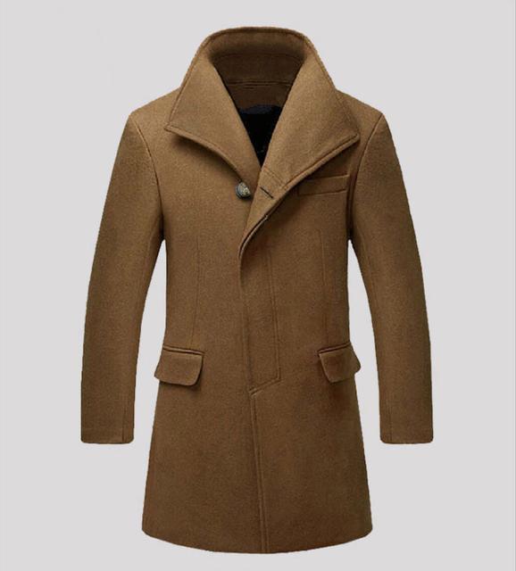 Novo Homem casaco de lã Longo trench coat Inverno peacoat dos homens mens Casaco de lã dos homens do sobretudo roupas casacos masculinos 877