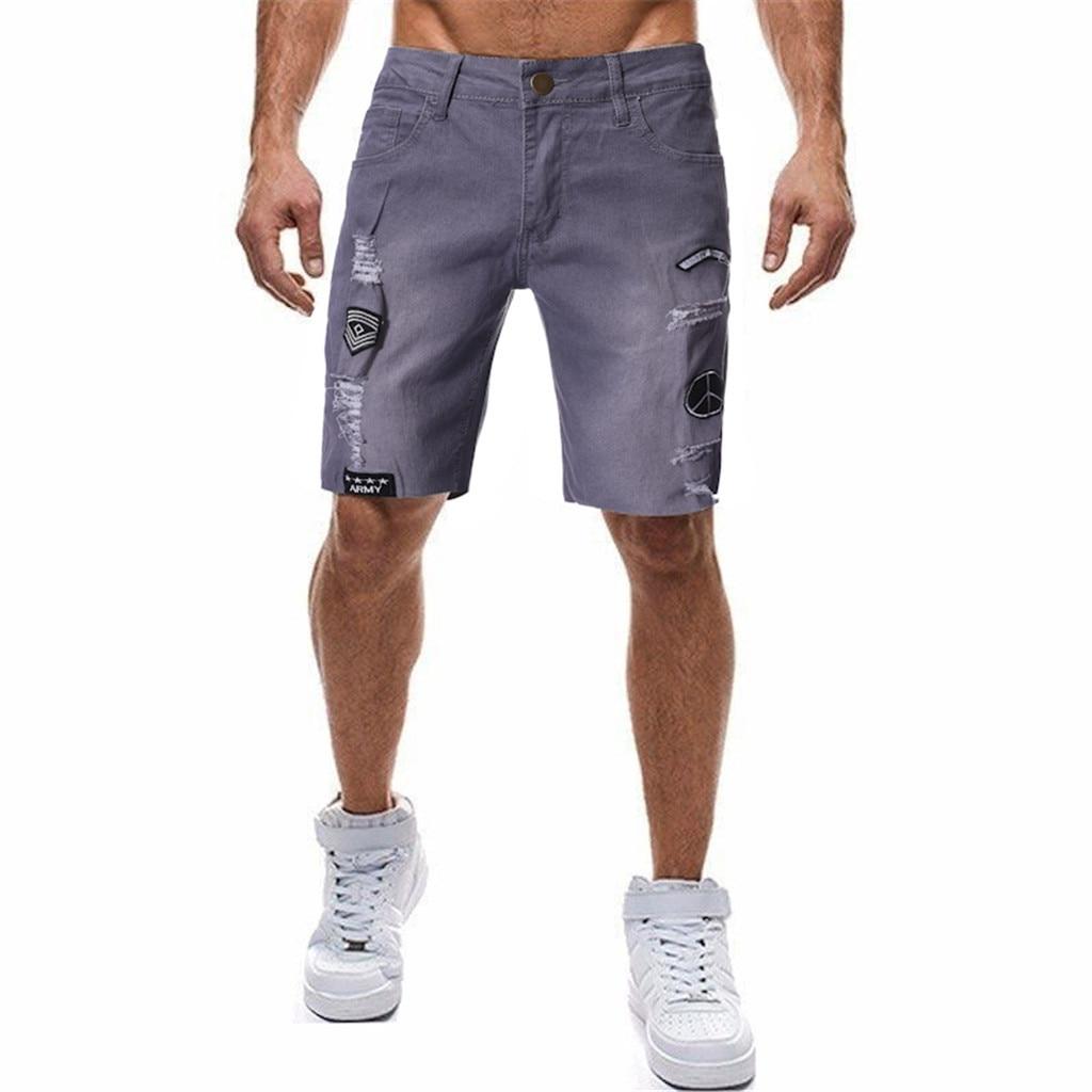 Men Denim Shorts 2019 Summer New Style Thin Section Elastic Force Slim Fit Short   Jeans   Male Brand Clothing Black Blue pants