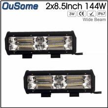2 peças 8.5 de polegada 144 W novo feixe largo 4×4 auto carro carcaça de alumínio de alta potência 12 v trator offroad car truck led trabalho luz