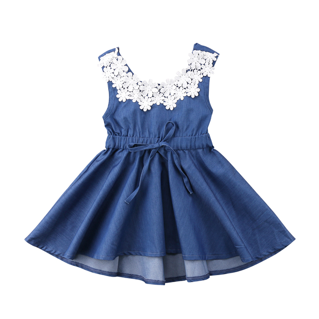 f7db3df95 Fashion Toddler Kids Baby Girls Lace Floral Denim Backless Princess Party  Dress Sundress