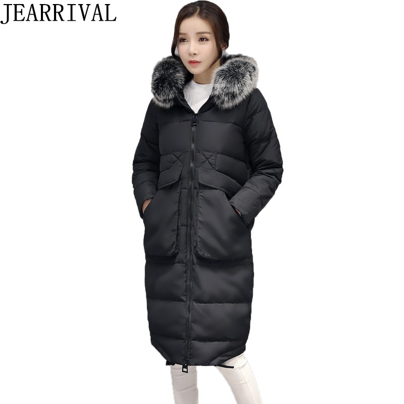 2017 New Winter Jacket Women Parka Large Fur Collar Hooded Thicken Coat Slim Medium-Long Cotton Padded Big Pocket Warm Parkas ftlzz new women winter jacket cotton coat slim large fur collar hooded parkas padded warm thickness medium long black overcoat