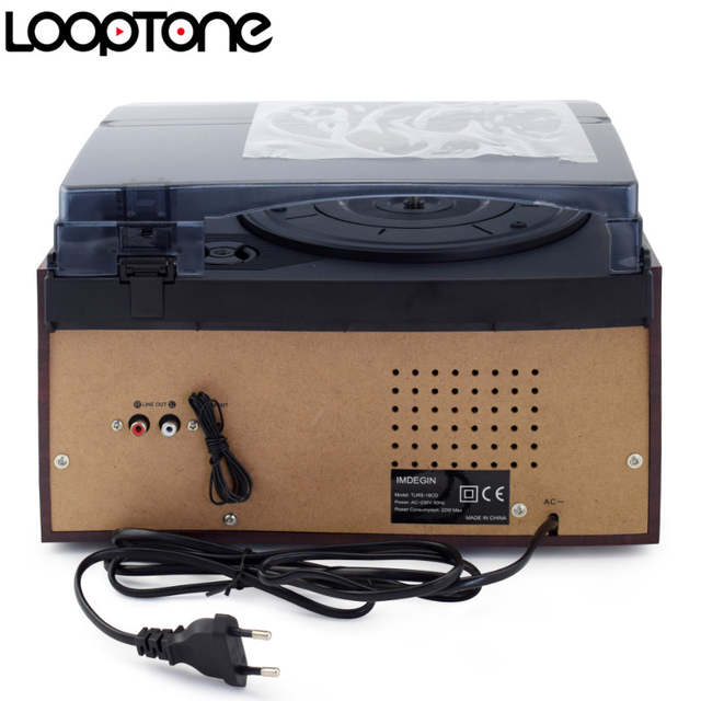 US $216 3 30% OFF|LoopTone 3 Speed Vinyl Record Player Turntable W/  CD&Cassette Player AM/FM Radio USB/SD Recorder Aux in RCA Line out-in  Turntables
