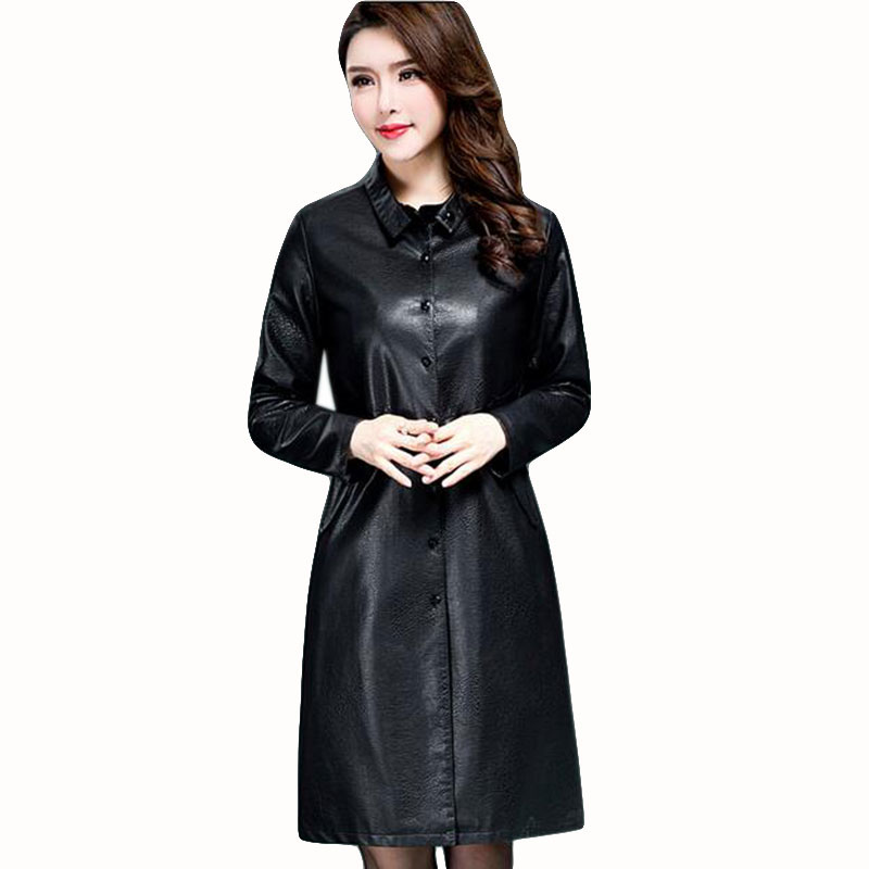 Autumn Winter The New   Leather   Women Long section PU skin coat Loose Stand up collar jacket Slim motorcycle new parka QH0501