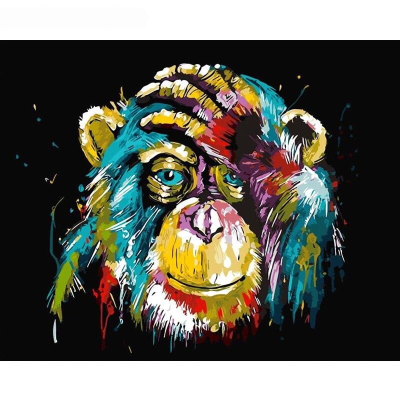 Gatyztory frameless Baboon animal DIY pintura por número pared arte cuadro Cuadros lona para Decoración para el hogar ilustraciones