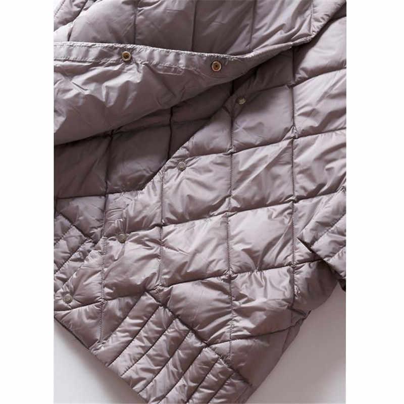 2018 Для женщин ультра легкие пуховики осень-зима тонкая белая утка вниз куртка-парка женский сплошной миди верхняя одежда, пальто AB990