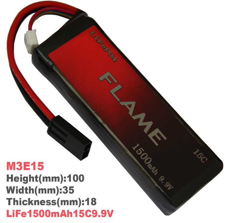 1pcs 100% Orginal Flame 9.9V 1500mAh 15C LiFePO4 Battery FLAME-POF4-06 M3E15 Drop shipping 1pcs 100% orginal firefox 7 4v 1600mah 20c li po aeg airsoft battery f2r16t drop shipping
