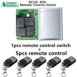Image 1 - 433 Mhz evrensel kablosuz uzaktan kumandalı anahtar DC12V 4CH röle alıcı modülü ve 5 adet RF uzaktan kumanda 433 Mhz verici