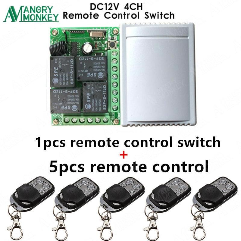 433 mhz Universel Sans Fil À Distance Interrupteur DC12V 4CH relais Récepteur Module et 5 pièces RF Télécommande 433 mhz Émetteur