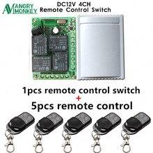 433 Mhz evrensel kablosuz uzaktan kumandalı anahtar DC12V 4CH röle alıcı modülü ve 5 adet RF uzaktan kumanda 433 Mhz verici
