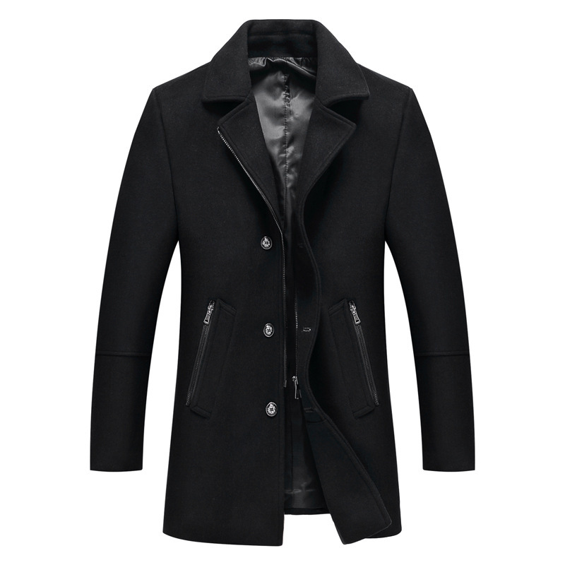 2019 Men Coat Wool Overcoat Turn Collar Warm Jackets Business Long Thicken Slim Overcoat Jacket Male  windbreaker Clothes DA008(China)