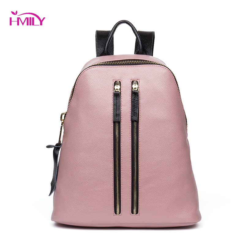 HMILY Women Backpack Genuine Leather Zipper School Backpack Ladies Fashion Women Bag Female Black Color Shoulder Bag hot sale women s backpack the oil wax of cowhide leather backpack women casual gentlewoman small bags genuine leather school bag
