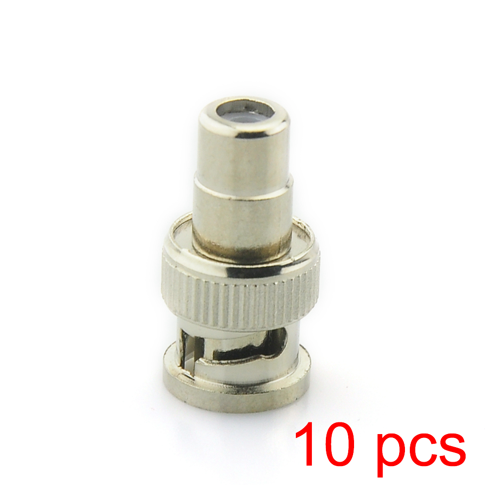 10x BNC Male to RCA Female Coax Cable Connector Adapter Coupler for CCTV Camera 10pcs bnc male to rca female coax cable connector adapter fm coupler for cctv camera
