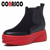 CONASCO Brand Women High Platforms Ankle Boots Punk Genuine Leather Autumn Winter Martin Shoes Woman Party Club Pumps Boots
