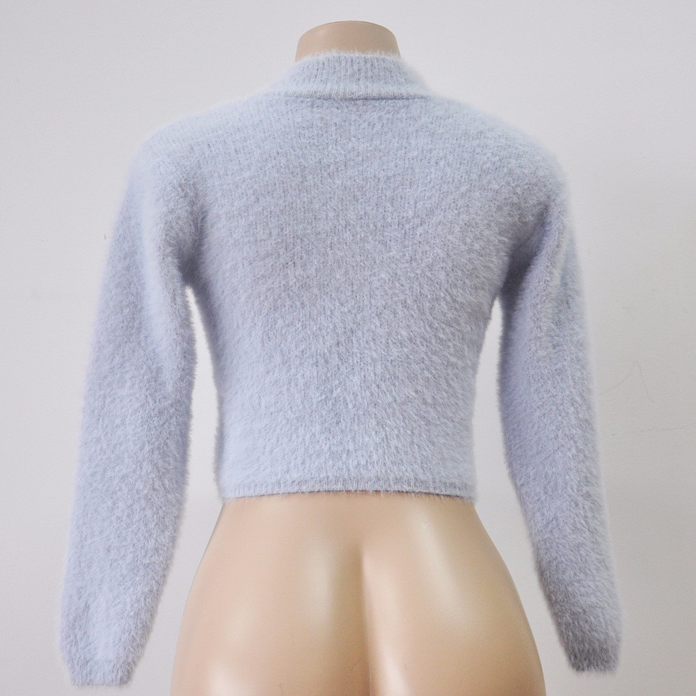 18 New Autumn and Winter Women Wool Cropped Jumpers Fluffy Mohair Sweater Mujer Pullover Sweaters Crop Top Black Pink 7