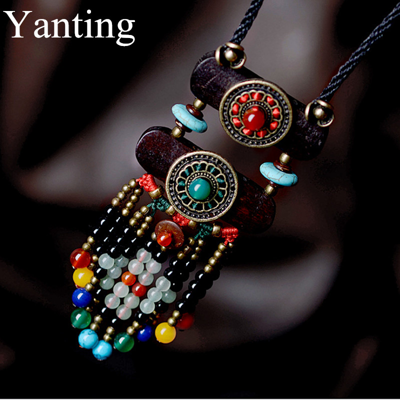 Yanting Boho Jewelry Ethnic Bohemian Necklace For Women Natural Stone Pendant Necklaces Vintage Maxi Long Rope Chain Necklace