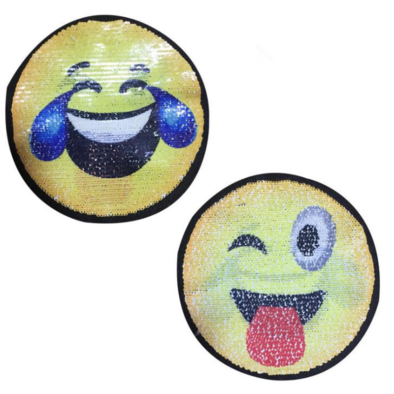Reversible change color sequins patches for clothing 205mm smiling face deal with it patch clothes t shirt women stickers