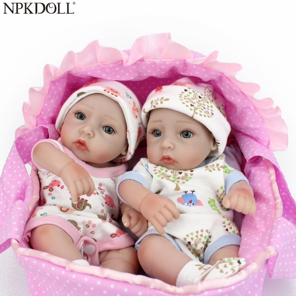 NPKDOLL 10 pouces Mini poupées Reborn fait à la main 28 CM pleine Silicone Reborn bébés jumeaux bébé poupée pour enfants jouets pour filles Brinquedo
