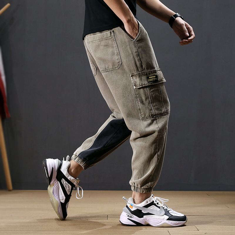 Japanese Style Fashion Men Jeans Loose Big Pocket Cargo Pants Stripe Spliced Harem Pants Streetwear Hip Hop Slack Bottom Joggers