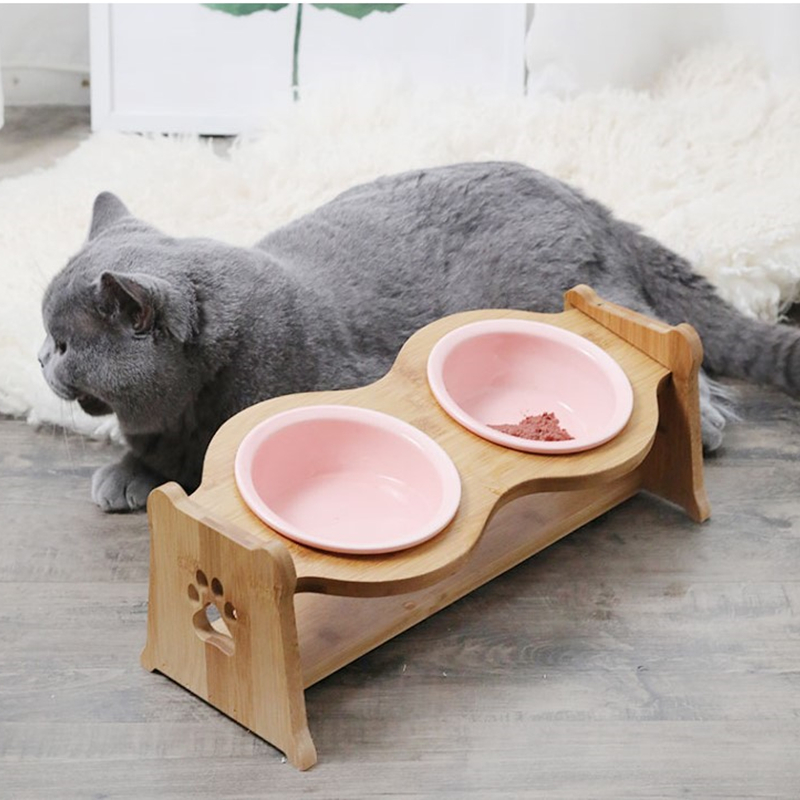 Pet Bowl Dogs Cats Ceramic Bowl Bamboo Cat Food Bowl Pet Cat Ear Double Feeder Water Pet Dog Supplies Feeding Drinking Container