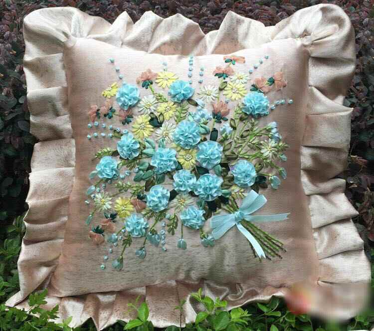 1 Buah 45X45 Cm Biru Merah Muda Bunga Karangan Bunga Pita Bordir Kit Bantal Cover Set Kerajinan DIY Buatan Tangan Menjahit seni Dekorasi Rumah