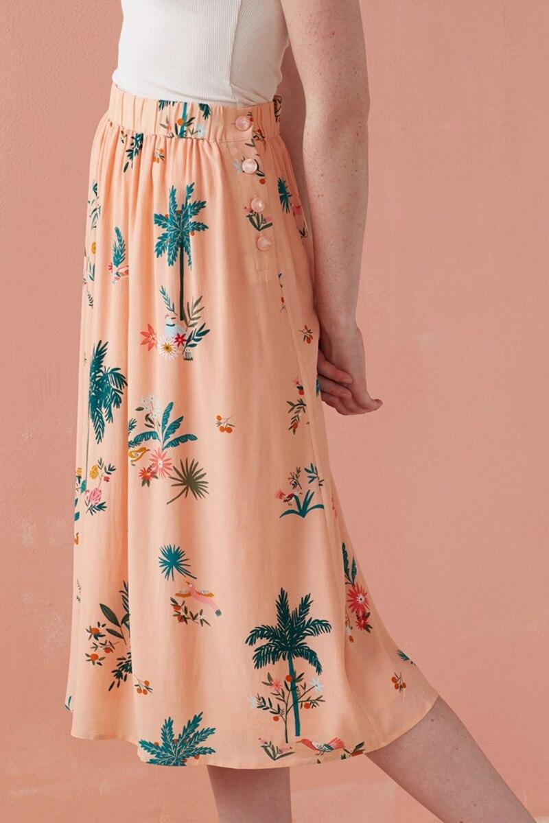 2019 New Women Pink Skirt Flower Print Fresh Sweet Midi Skirt