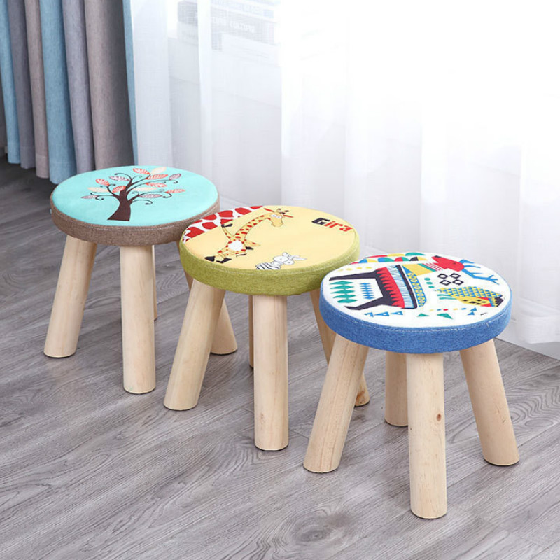 Wooden Small round stools fashion home fabrics living room tea table sofa stool Ottomans Change shoe short bench mx7081757