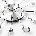 2017 Nueva Cocina Moderna Reloj de Pared Relojes Astilla Cubiertos Cuchara Tenedor Creativo Diseño Decoración Del Hogar Pegatinas de Pared Mecanismo Horloge