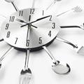 New Modern Kitchen Wall Clock Sliver Cutlery Clocks Spoon Fork Creative Wall Stickers Mechanism Design Home Decor Horloge