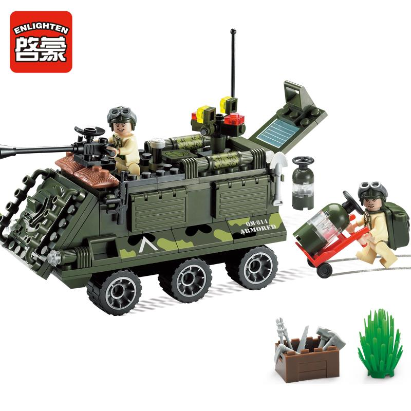 Enlighten 167Pcs Combat Zones Modern Military Army Armored Car Chariot Legoings SWAT Model Building Blocks Toys For Children ...