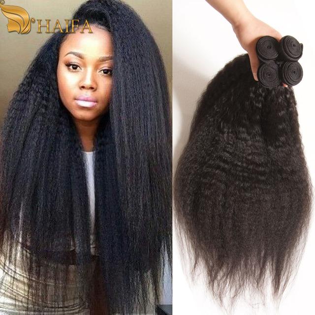 Não processado Brasileiro virgem cabelo crespo em linha reta 3 peças tecer encaracolado extensão do cabelo humano de 8 a 28 polegada Yaki Grosseiro Italiana