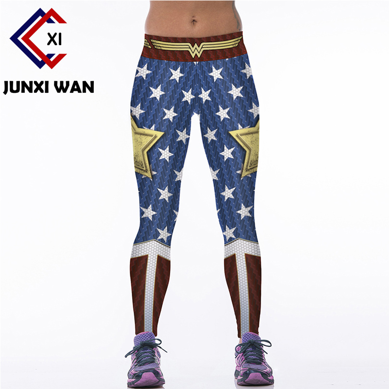Women Wonder Woman 3D Printed Workout Fitness Slim Yoga Pants Carry Buttock High Waist Tights Gym Running Sport Leggings WA0074