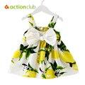 Actionclub verão bebê meninas vestido vestido de festa da princesa vestidos arnês impresso bowknot roupas infantis crianças roupas de praia