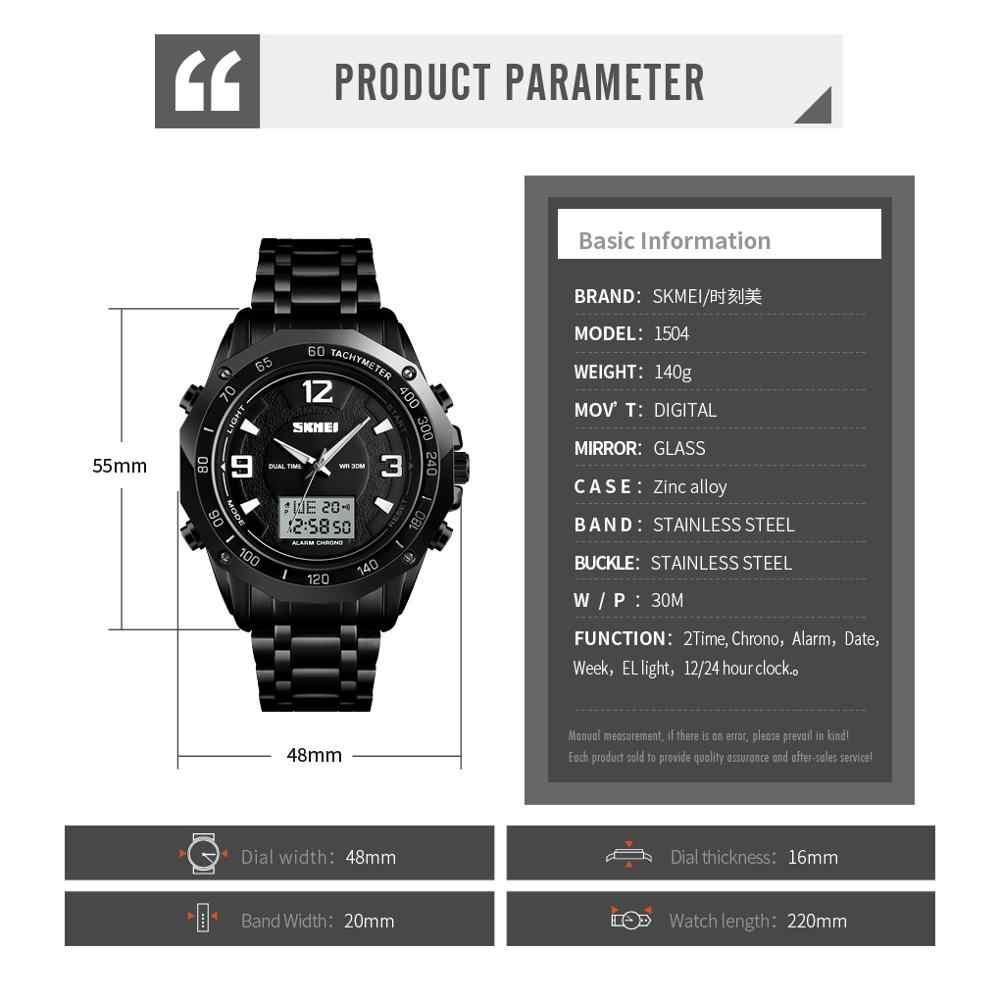 ยี่ห้อ SKMEI ชายดิจิตอลนาฬิกาสแตนเลสนาฬิกาจับเวลา Chronograph กีฬานาฬิกาข้อมือผู้ชายกันน้ำนาฬิกาข้อมือบุรุษ