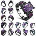 Новая мода Винтаж для женщин кольцо с фиолетовыми кристаллами Черное золото Заполненные Циркон Кристалл обручение свадебные кольца размеры 8 - фото