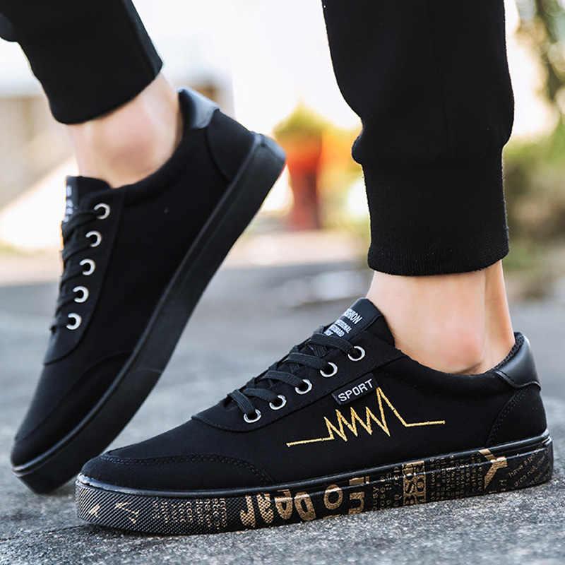 Nuevos zapatos de lona de Primavera Verano de 2019 para hombre, zapatillas de deporte, zapatos negros bajos, zapatos casuales para hombre, zapatos