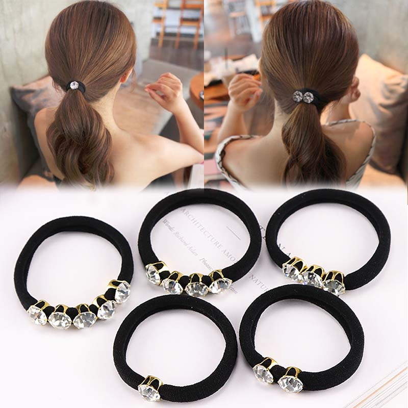 New Fashion Elegant Rhinestones Hair Accessories Simple Black Elastic Hair Bands for Women Girl Ponytail Rubber Band