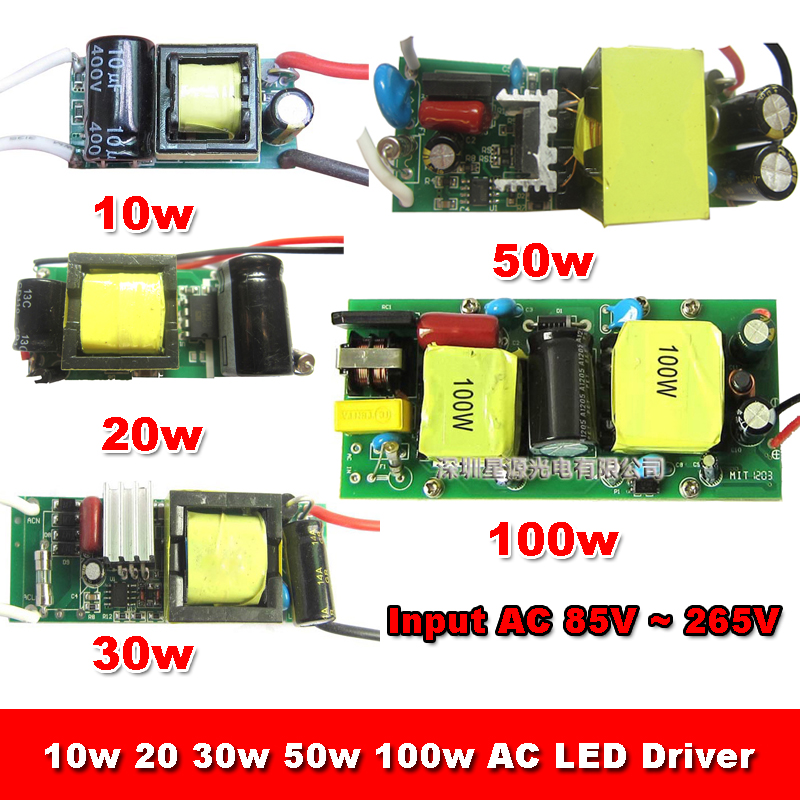 1pcs Non-waterproof Input AC 220V Output DC 9V -34V 10w 900mA 20w 30w 50w 100w LED Driver For Bulb light Lamp Power Supply