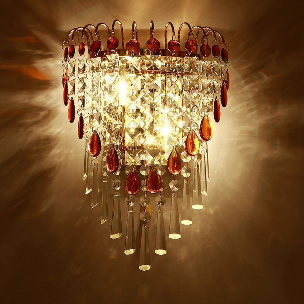 Modern Crystal Drop Bedroom Bedsides Wall Lights Stair Corridor Mirror Front Crystal Wall Sconces Balcony Hallway Wall Lamps