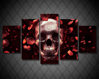 5Planes Wall Painting Art Pictures Roses Skull Full Res Canvas Paint Posters Prints Modular Picture For