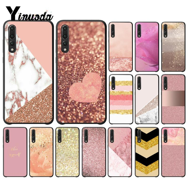 Yinuoda For Huawei P20 Pro Cover Case Gold Pink rose Glitter Cell Phone Cover for Huawei Honor View 10 Mate10 lite P10 P20 in Half wrapped Cases from Cellphones Telecommunications